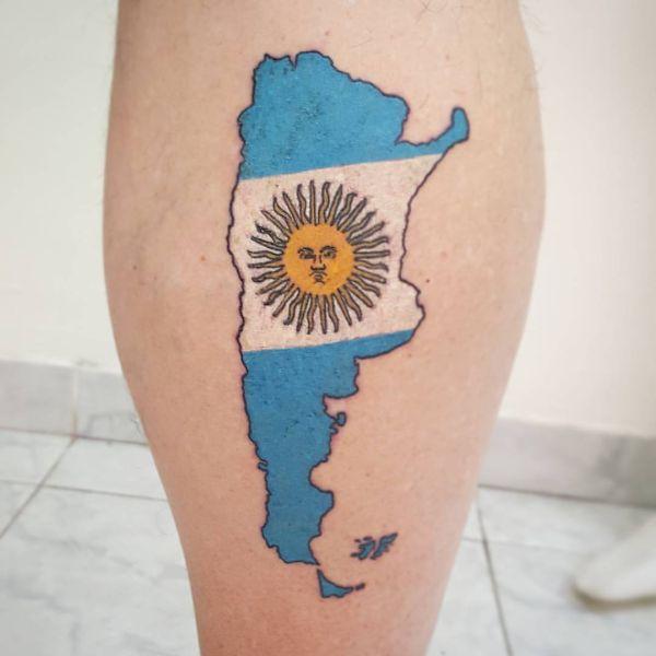 tatuajes bandera argentina con el espacio geografico