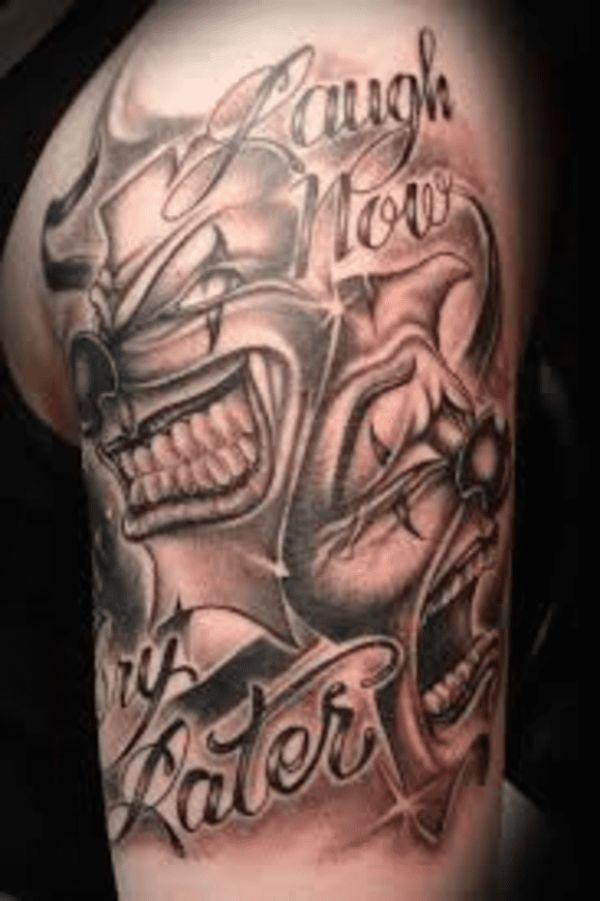 tatuajes de cara triste y feliz clasicas