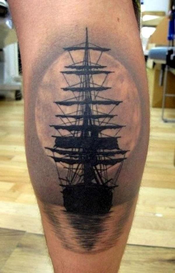 tatuajes de barcos en el brazo silueta con fondo