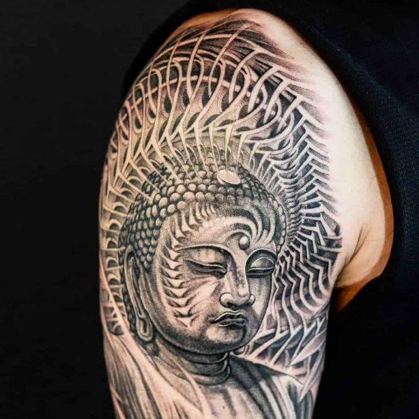 tatuajes de buda en el brazo con efecto visual
