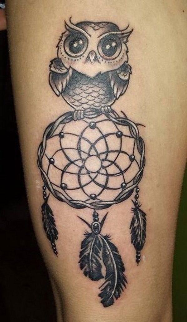 tatuajes de buhos con atrapasueños bonitos