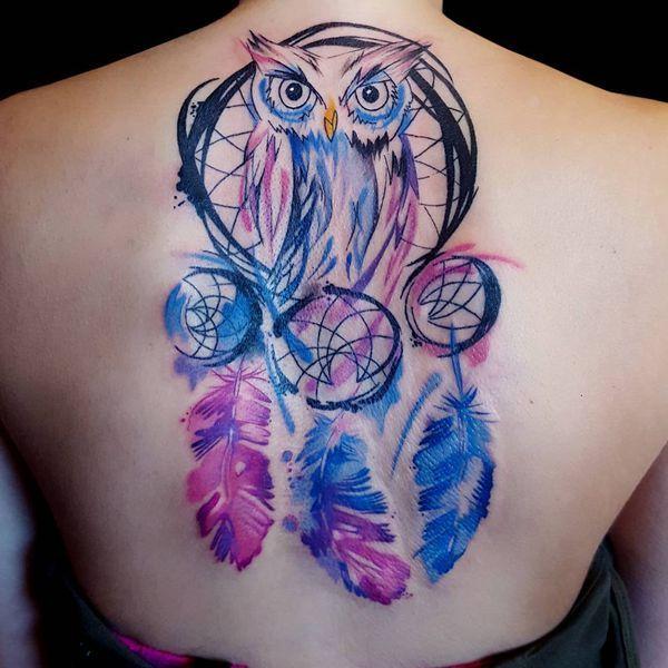 tatuajes de buhos con atrapasueños tinta acuarela