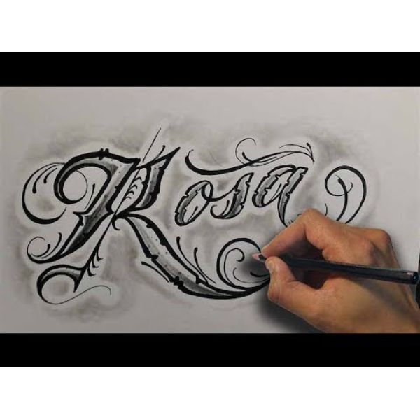 tatuajes con el nombre de rosa tipografias en plantilla