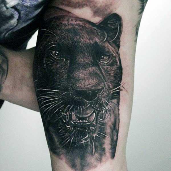 tatuajes de panteras en el brazo realista