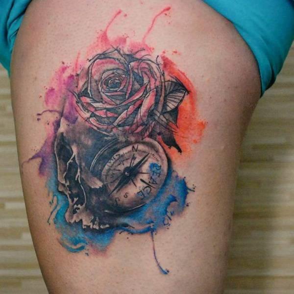 tatuajes de rosas de los vientos acuarela