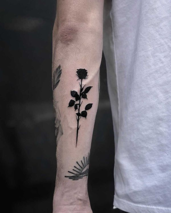 tatuajes de flores negras solido sin sombras