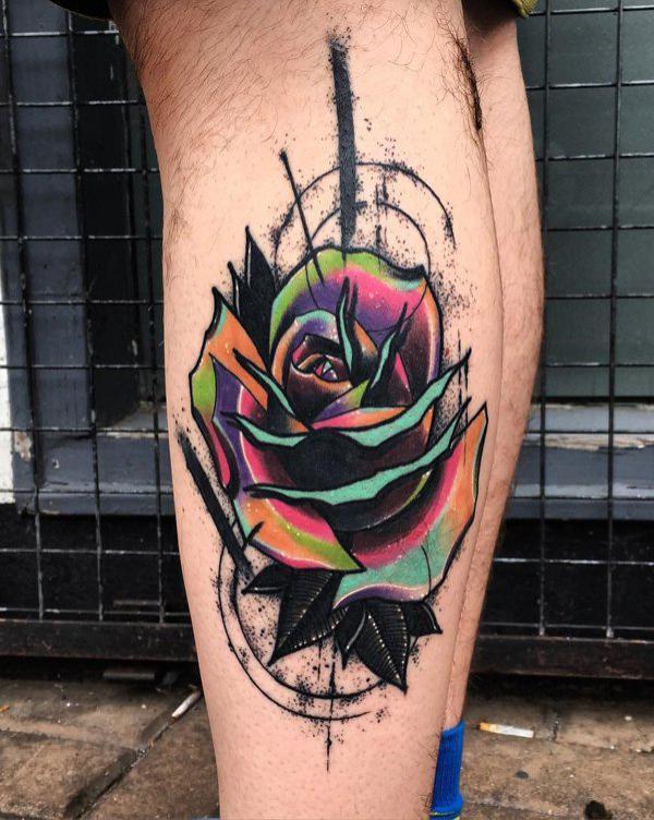 tatuajes rosas para hombres en pierna