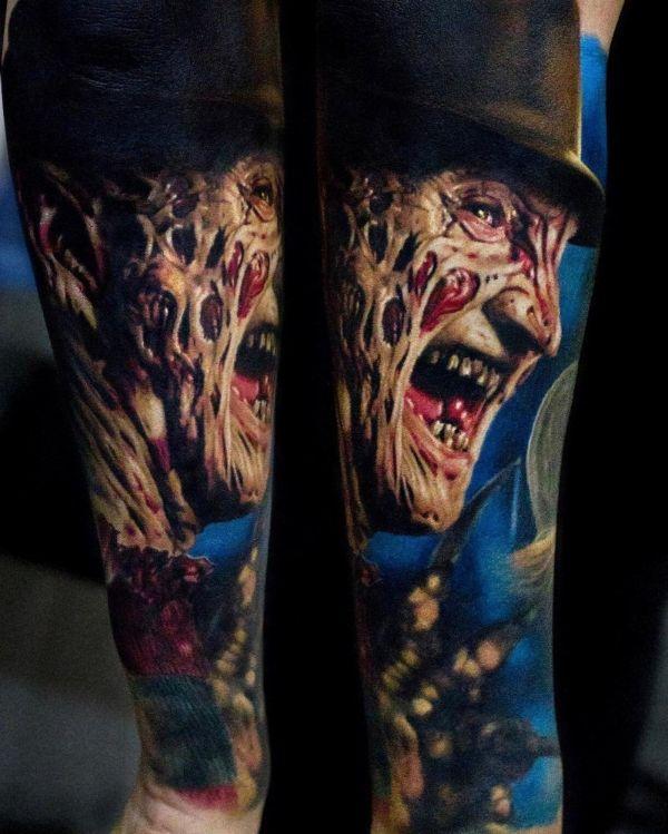 tatuajes de peliculas de terror retratos con alto detalle